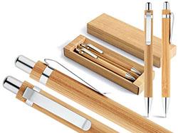 Balpen en vulpotlood in bamboe