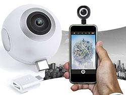Camera 360 graden, micro usb en type c connectie