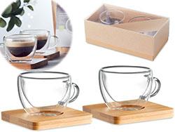 Espresso set met bamboe onderzetter