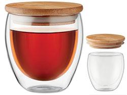 Dubbelwandig drinkglas met bamboe deksel 250 ml