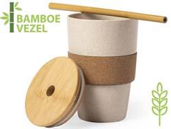 Bamboe beker met kurk zoplen 450 ml