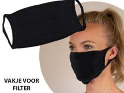 Herbruikbaar 2-lagig mondmasker met filterzakje