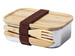 Rvs lunchbox met bamboedeksel sariul